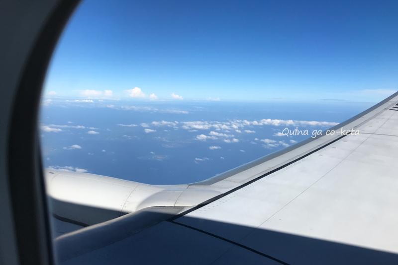うっすらと沖縄島が見えた