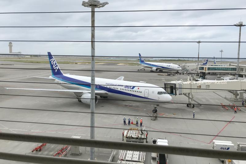 那覇空港の見学者デッキで間近に飛行機を見る