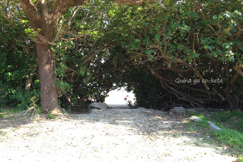 木のトンネルを抜けると百名ビーチ(南城市玉城百名)