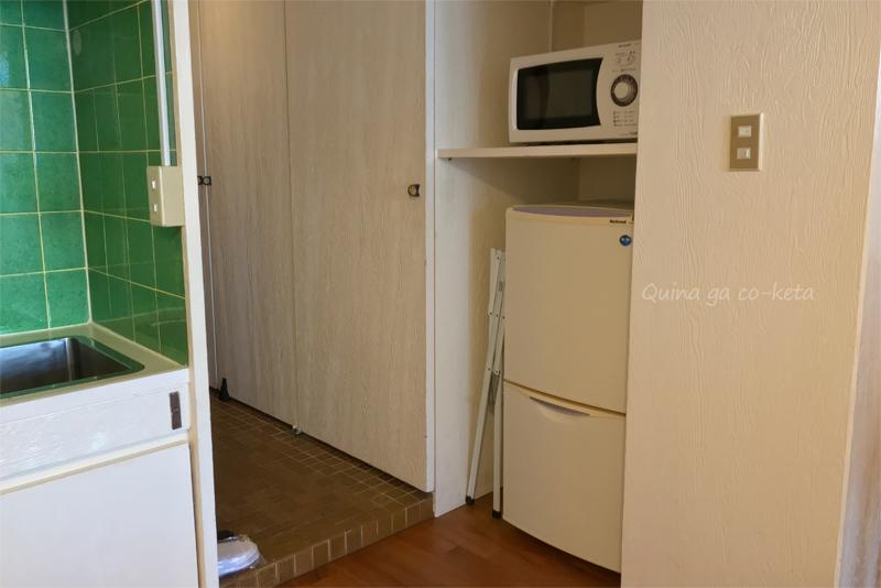 ムーンビーチパレスホテルの冷蔵庫と電子レンジ