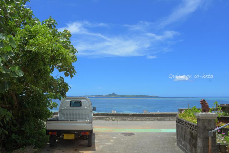 本部町備瀬の海岸から伊江島が見えた(2020年7月)