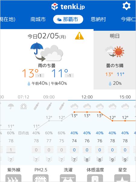 沖縄の天気は『tenki.jp』アプリでチェック