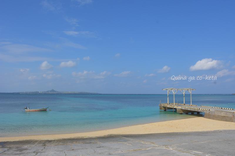 備瀬の海岸から見えた伊江島タッチュー