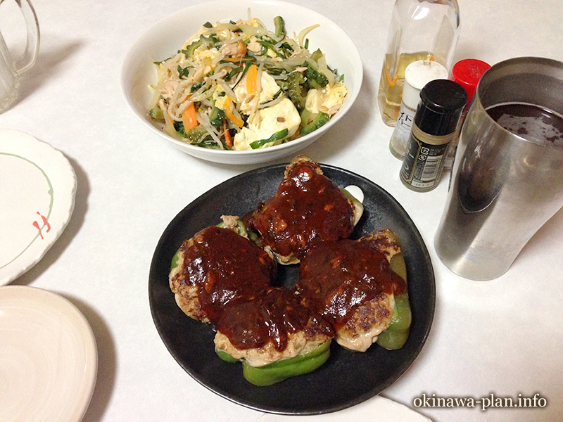 沖縄県産ピーマンの肉詰め