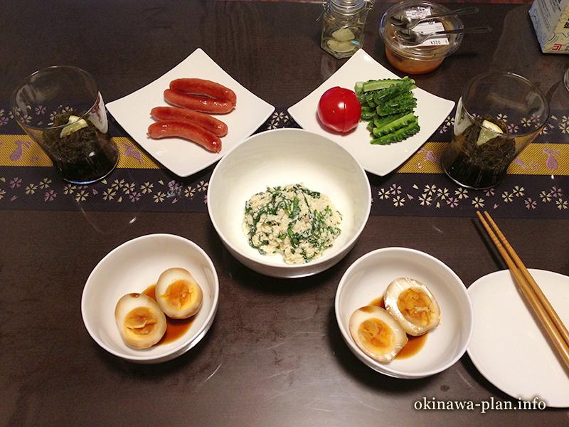 沖縄自炊料理(白和え、煮たまご)
