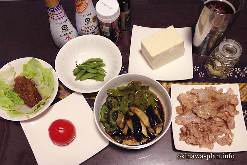 沖縄自炊料理(野菜の揚げびたし・豚肉の塩焼き)
