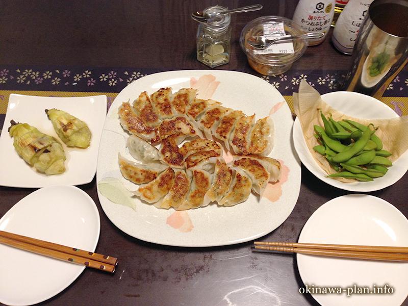 沖縄滞在中に手作りした餃子