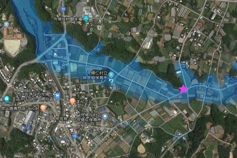 今帰仁村の大井川からハキジヌメーまでの想像図