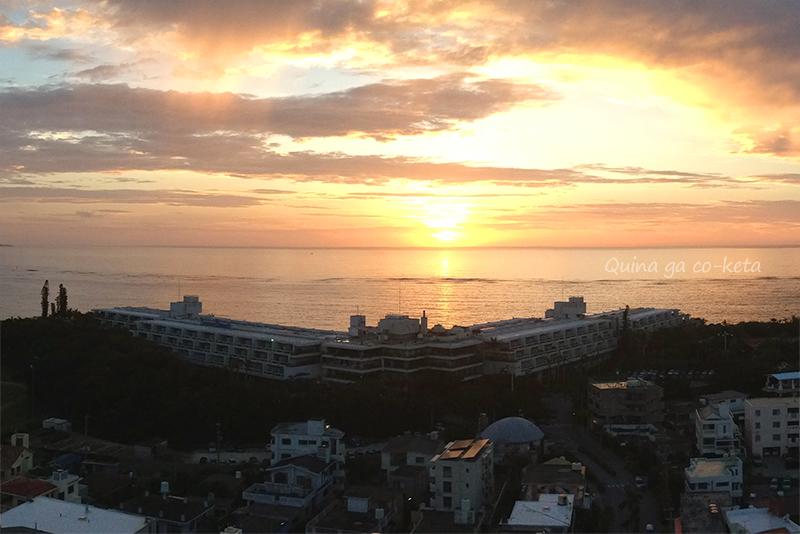夕暮れ時のムーンビーチホテル全景(恩納村)